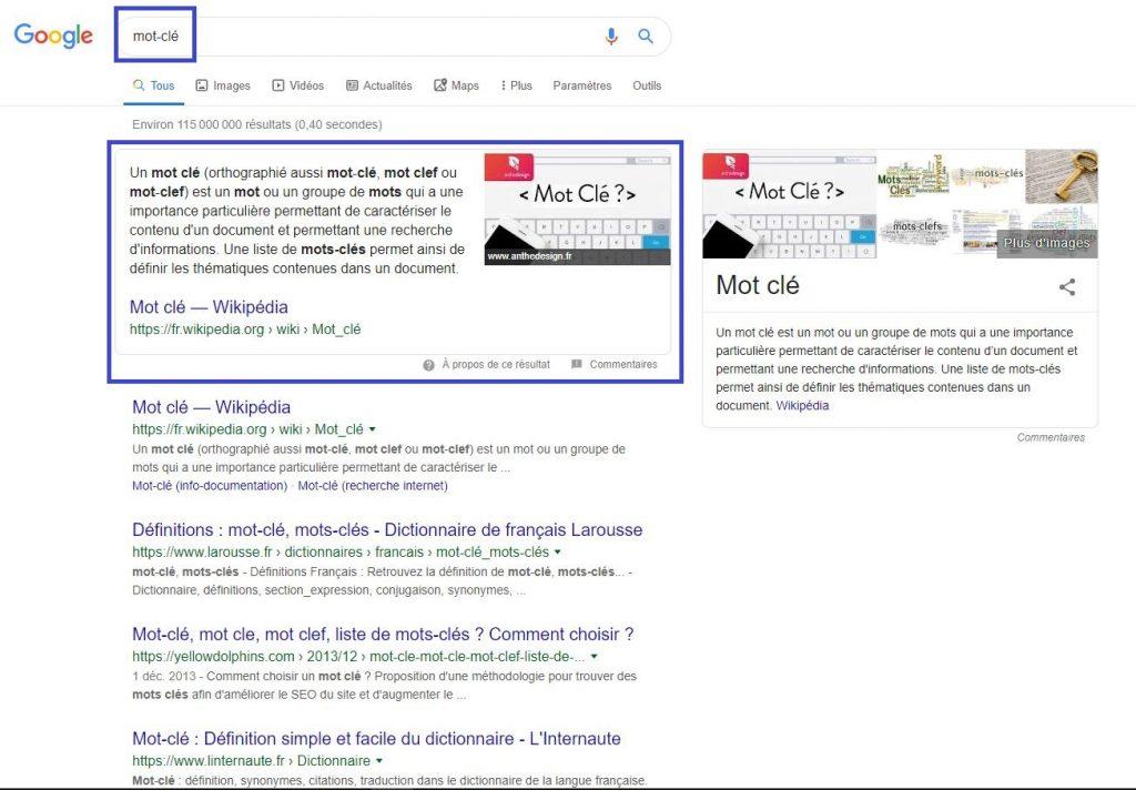 Mot-clé & Réponse de Google